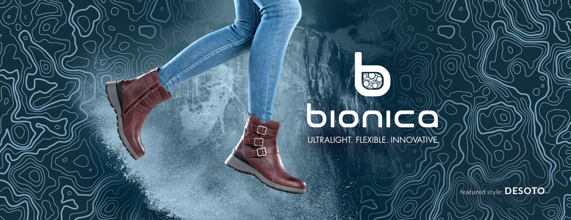Bionica: Ultralight, Flexible, Innovative. Featured style: Desoto boot, shown in eggplant purple on jumping model wearing jeans
