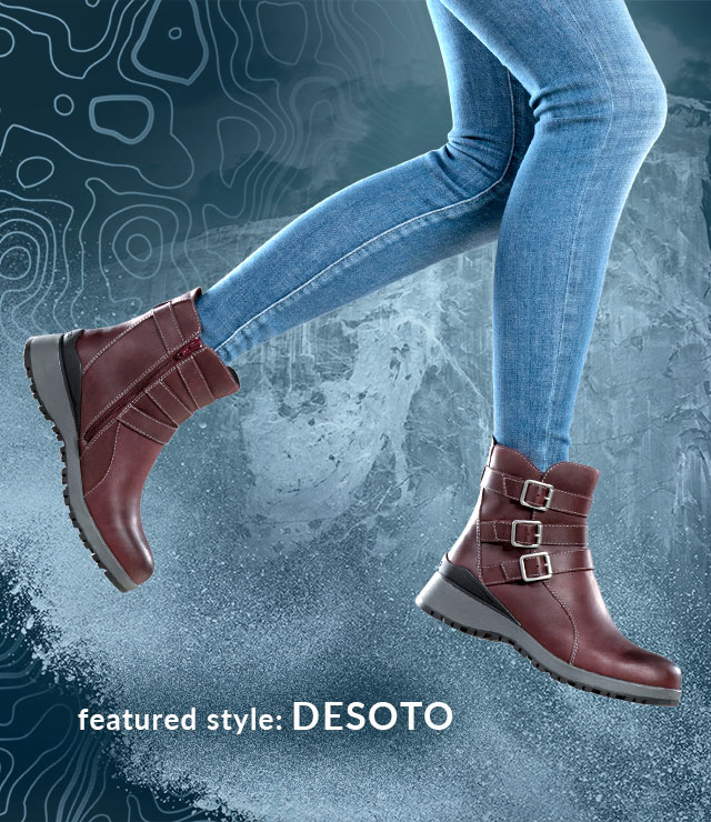 featured style: Desoto boot, shown in eggplant purple on jumping model wearing jeans
