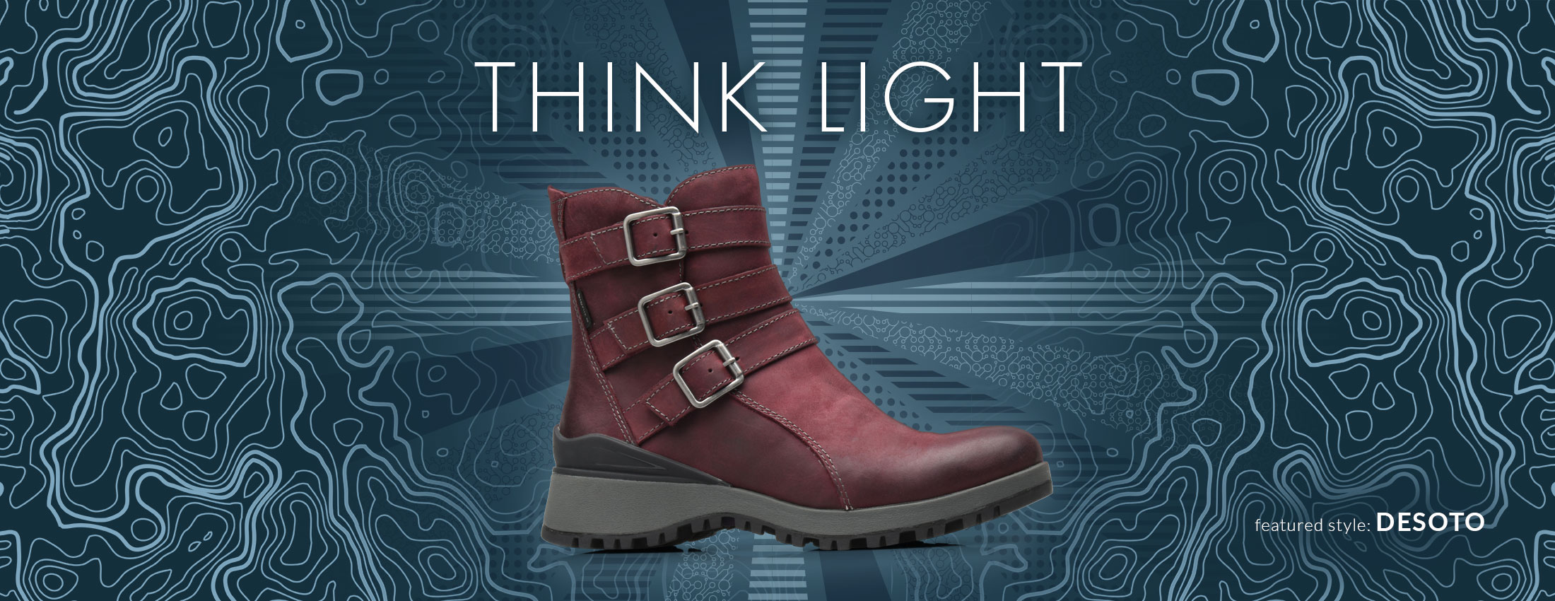 Think Light. Featured style: Desoto boot, shown in eggplant purple