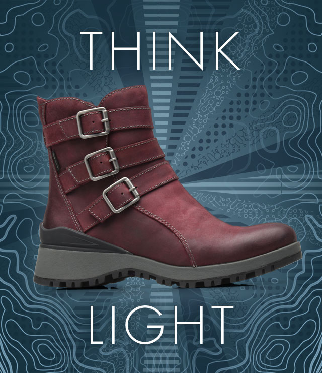 Think Light. Desoto boot, shown in eggplant purple