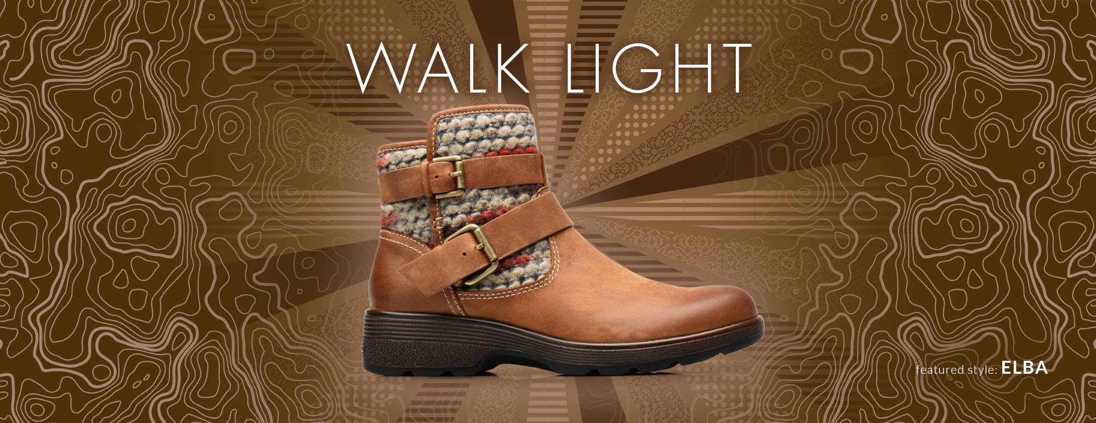 Walk Light. Featured style: Elba boot, shown in almond tan