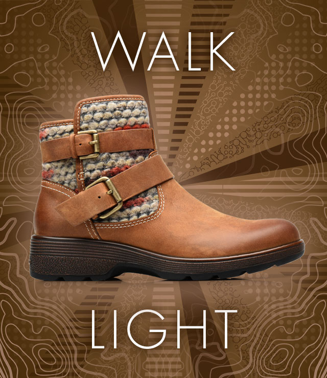 Walk Light. Elba boot, shown in almond tan