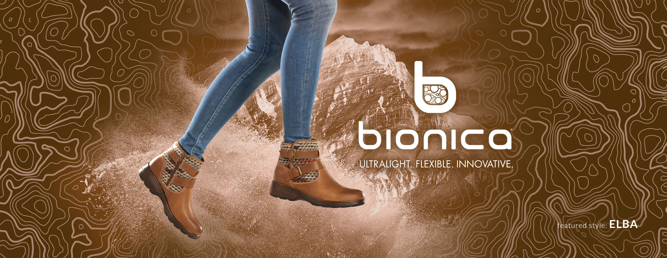 Bionica: Ultralight, Flexible, Innovative. Featured style: Elba boot, shown in almond tan on jumping model wearing jeans