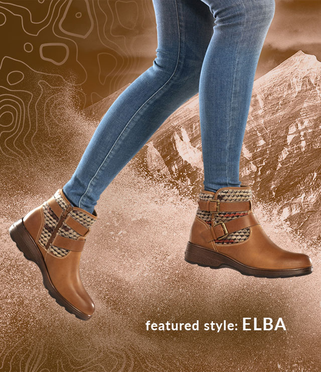 Featured style: Elba boot, shown in almond tan on jumping model wearing jeans