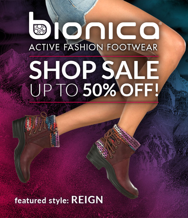 Bionica: Active Fashion Footwear. Shop Sale, Up to 50% off! Featured Style: Reign boot, shown in egglant purple on jumping model wearing jean shorts