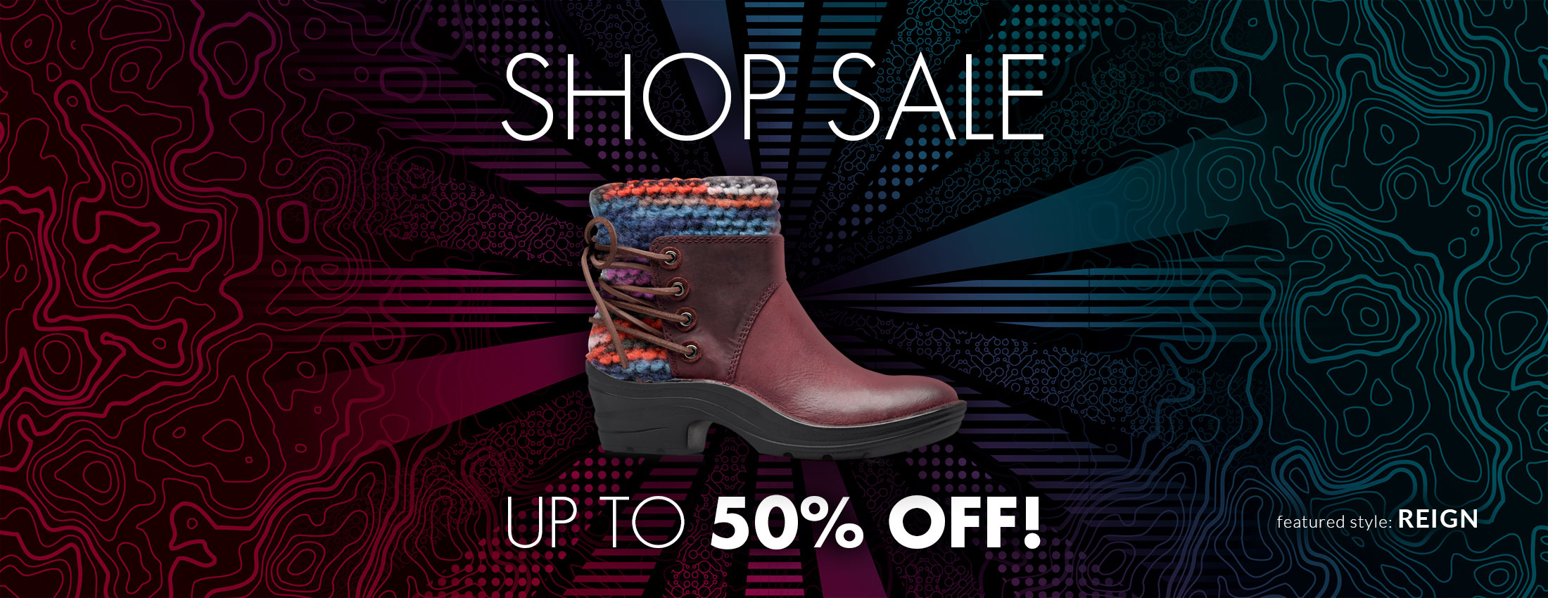 Shop Sale, Up to 50% off! Featured Style: Reign boot, shown in egglant purple